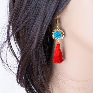 Red and Teal Floral Fringe Tassel Boho Earrings